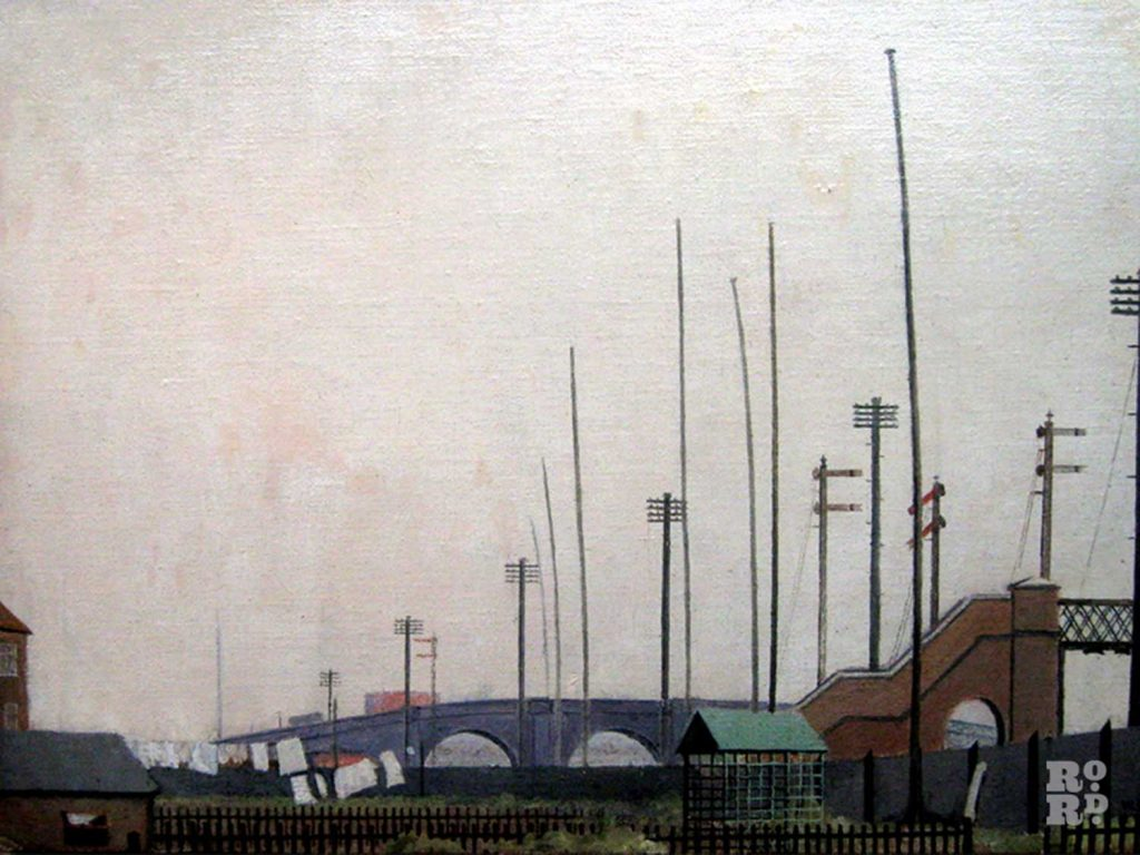 Walter Steggles painting of railway fence