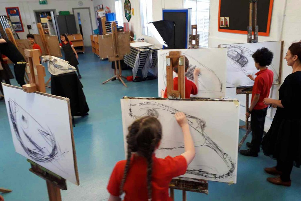 Students in art class at Faraday Prep School