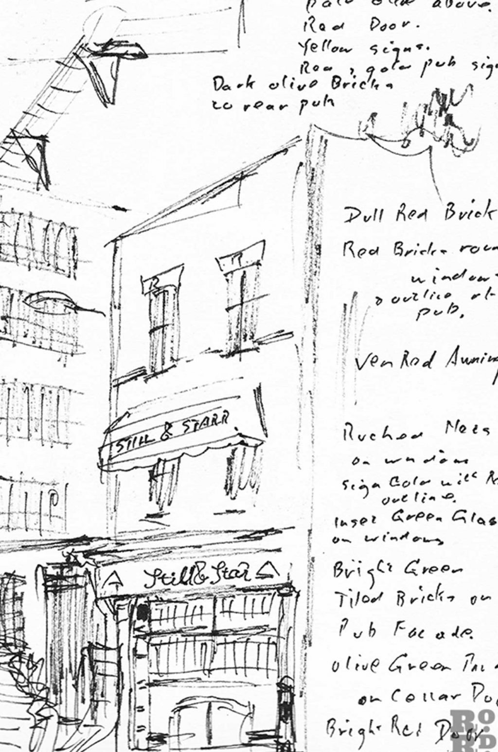Sketches and notes for a Poplar street painting by Noel Gibson