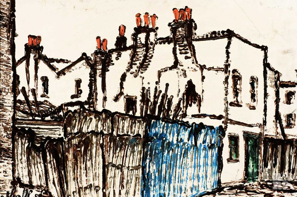 Painting of old houses on Chilton Street by Noel Gibson, 1975