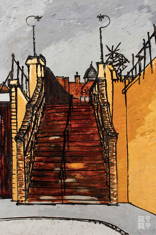 Steps to pedestrian bridge (Spratt's Bridge over London and north Eastern railway), 1970