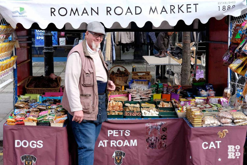 Steve at the Pets at Roam stall on Roman Road Market, East London