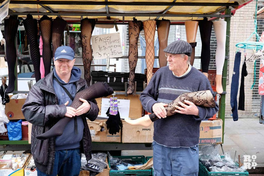 Adrian and Paul in front of their underwear stall on Roman Road Market
