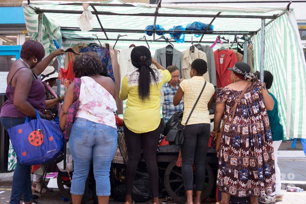 Stuart's fabric and clothes stall on Roman Road Market
