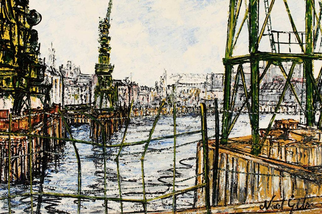 The Thames at Shadwell, by Noel Gibson, 1973