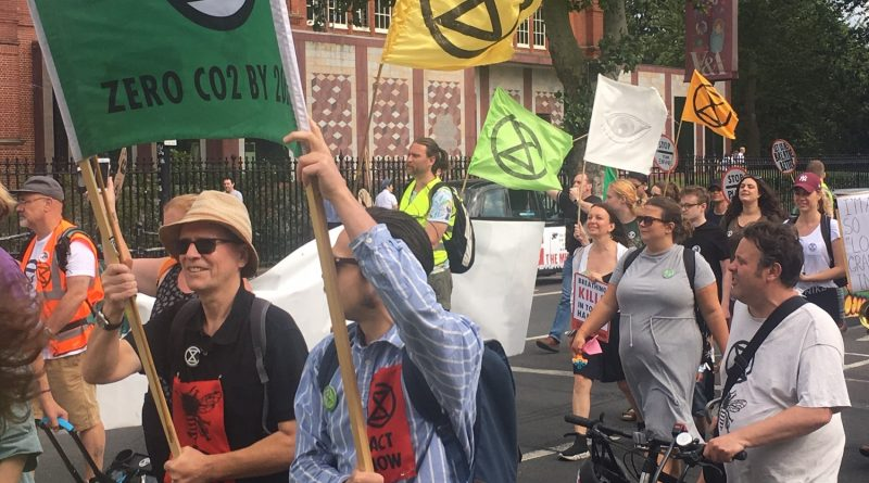 Extinction Rebellion march in Bethnal Green