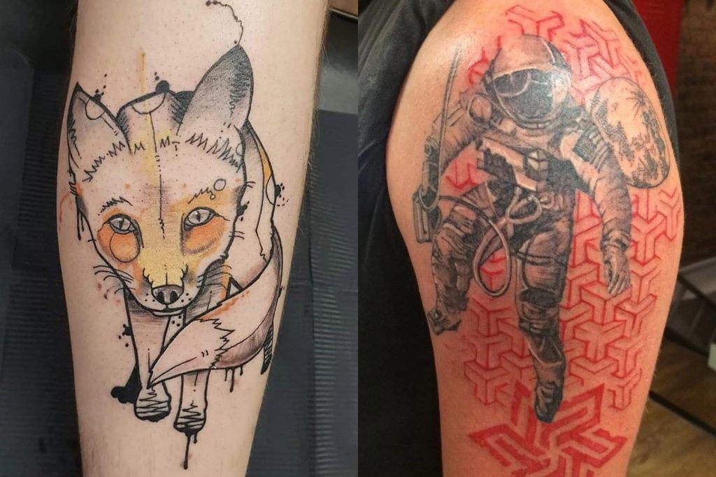 Tattoos by Jay Moon (left) and Tracy (right) at Pride Studio on Roman Road