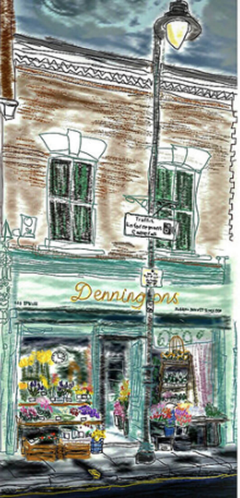 Drawing of Dennington's on Roman Road by Bex Shaw
