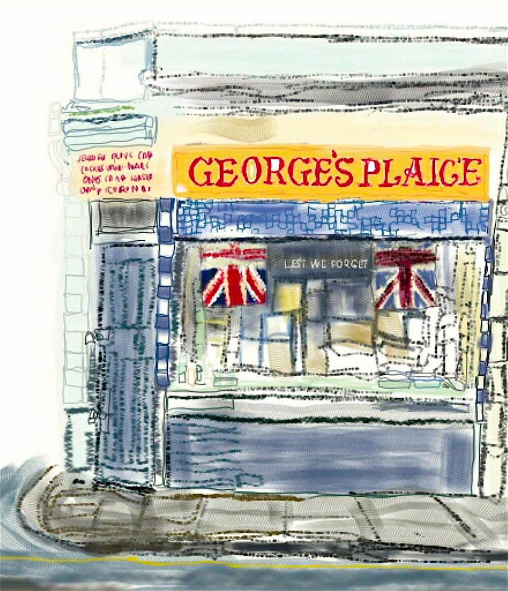 Drawing of George's Plaice on Roman Road by Bex Shaw