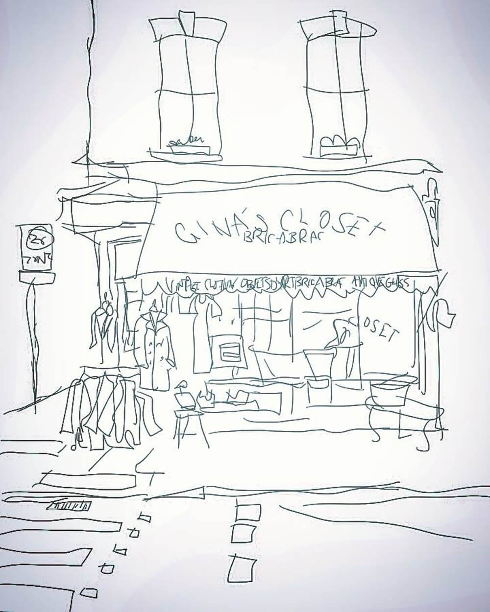 Drawing of Gina's Closet on Roman Road by Bex Shaw
