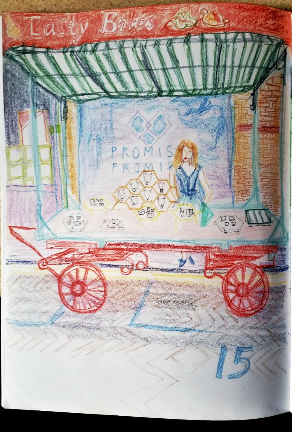 Drawing of Tasty Bites stall on Roman Road by Bex Shaw