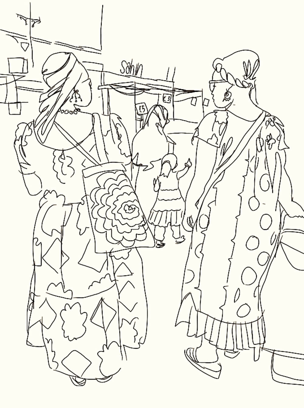 Drawing of two women on Roman Road by Bex Shaw
