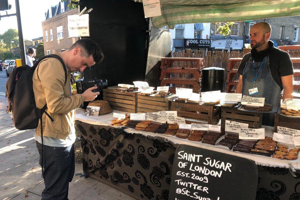 Dav Stewart taking a portrait of St Sugar of London
