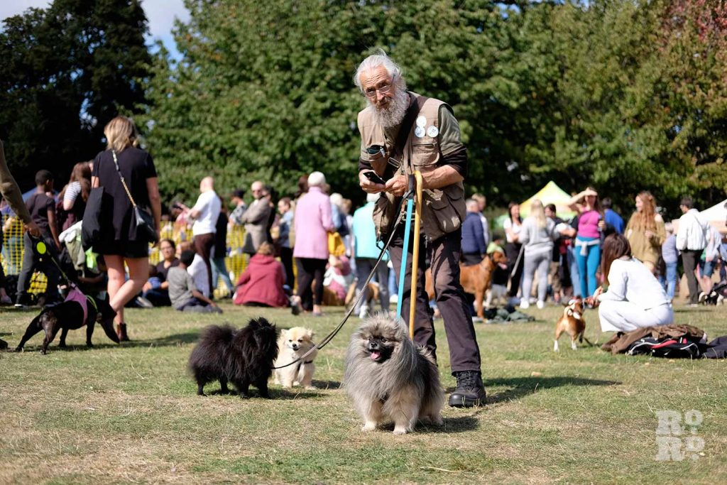 Man with three dogs at the Victoria Park Dog Show