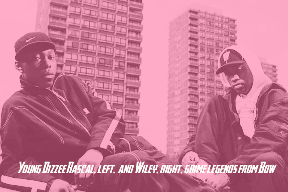 Dizzee Rascal with Wiley against the background of the three towers in Bow