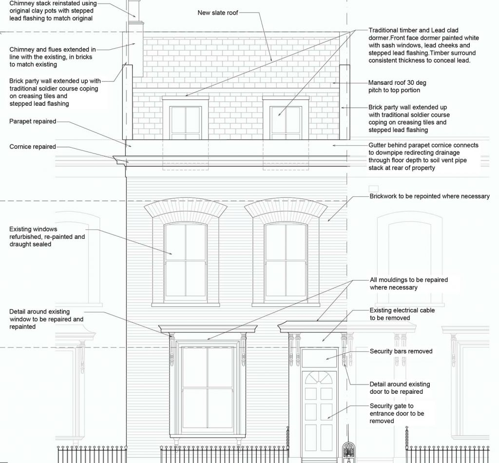 Proposed elevation of Ellesmere Road property with a mansard roof