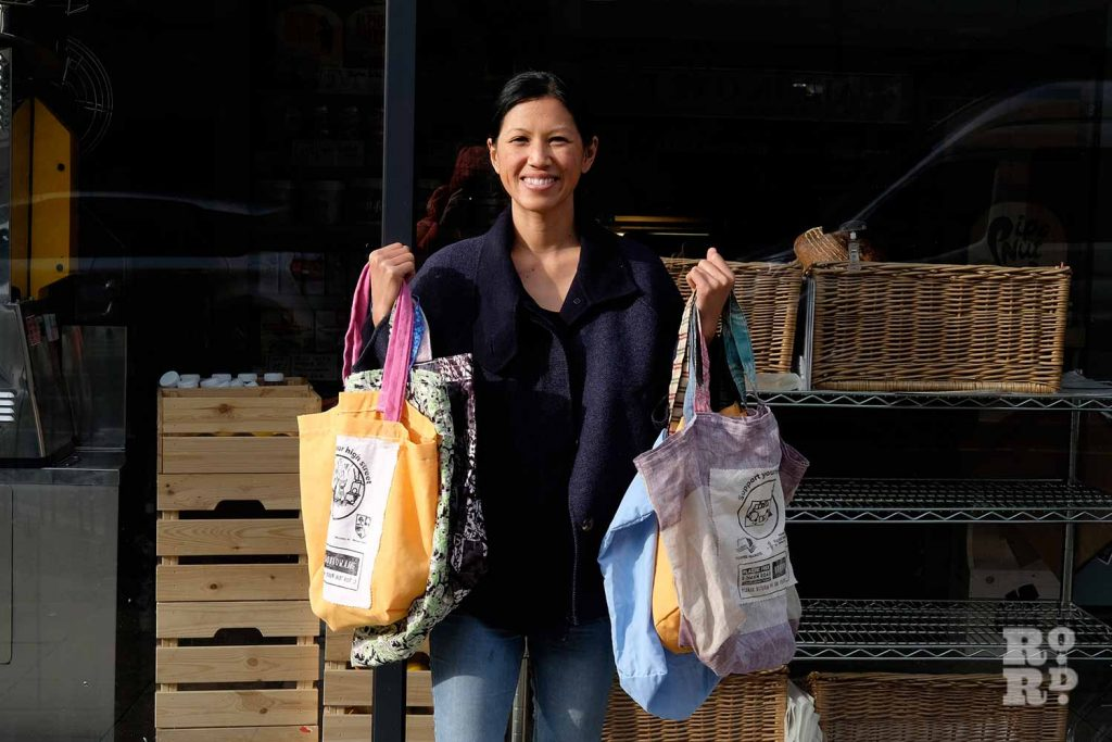 Linda Tai and the Roman Road borrow-a-bag tote bags