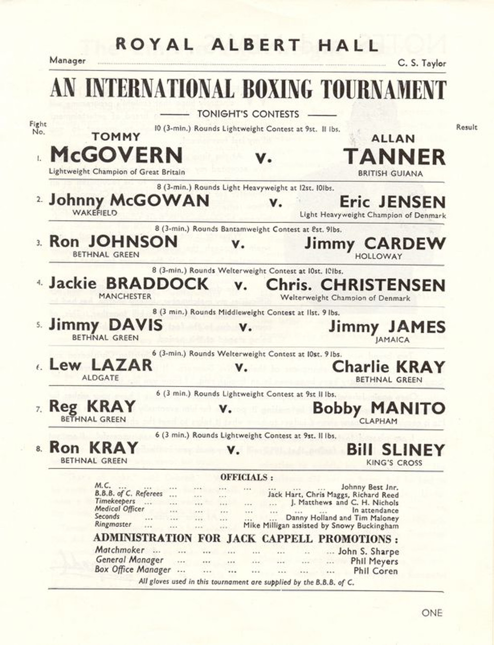 Boxing poster featuring the Kray brothers