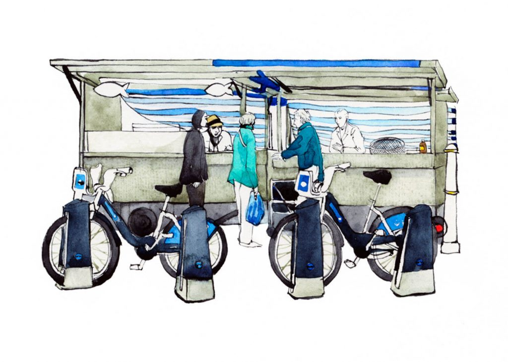 Illustration by Eleanor Crow of Downey Brothers fishmongers in Globe Town Market