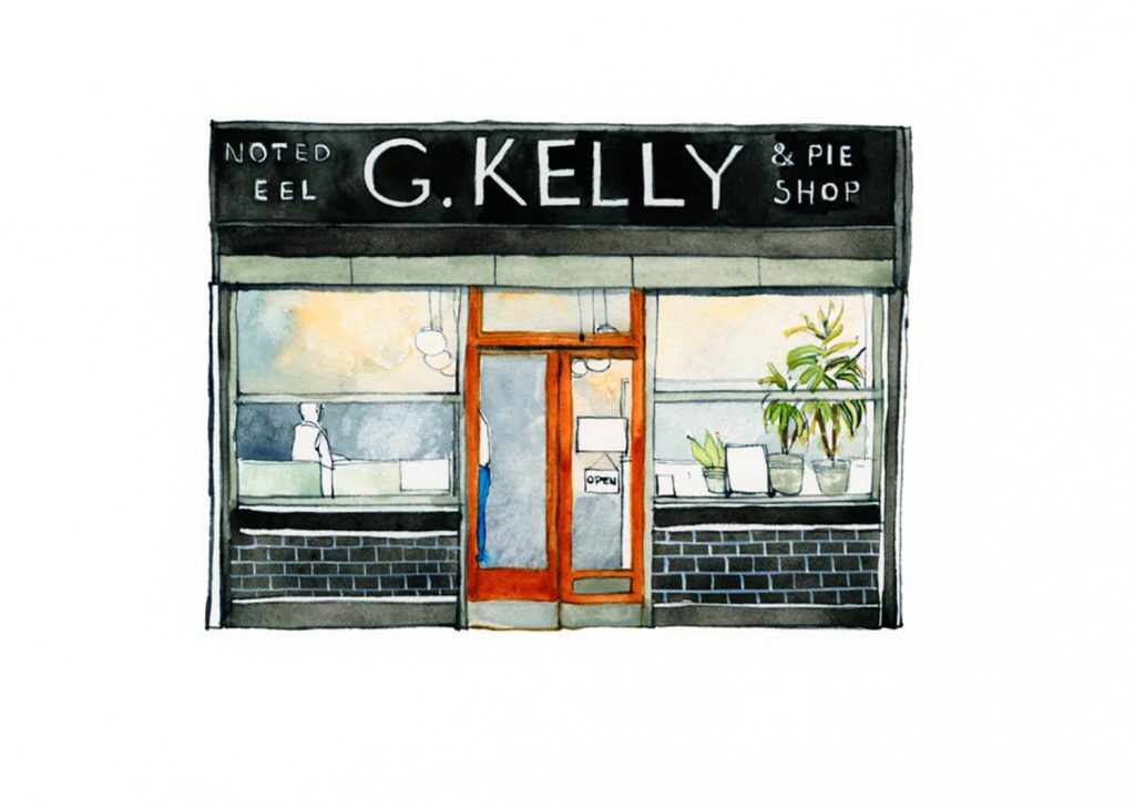 Illustration by Eleanor Crow of G. Kelly pie and mash shop on Roman Road
