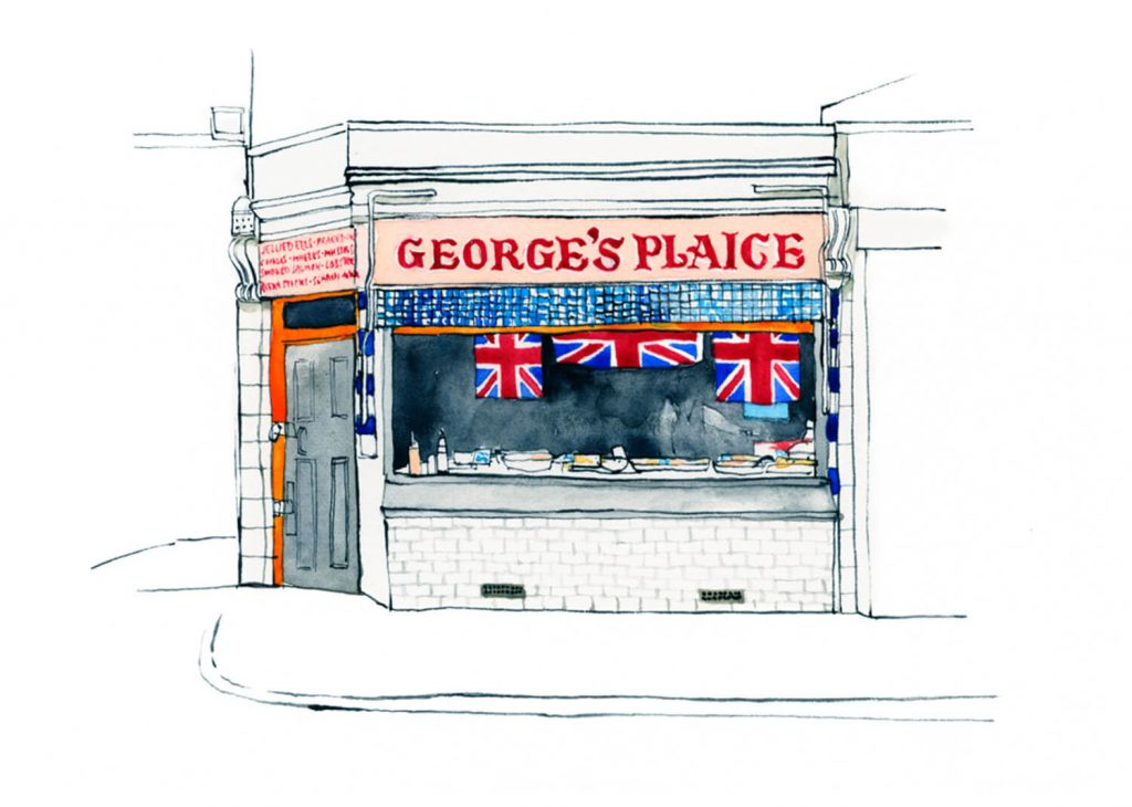 Illustration by Eleanor Crow of George's Plaice on Roman Road