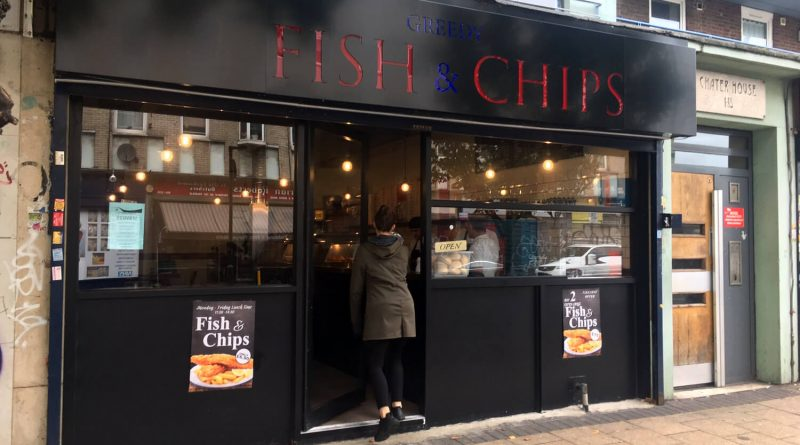 Shop front of Greedy Fish & Chips on Roman Road