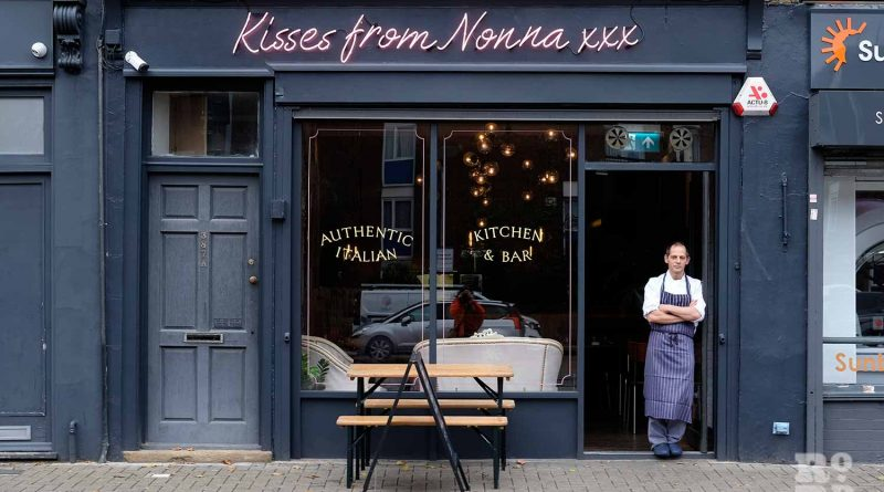 Chef standing in the door way of new Italian restaurant Kisses from Nonna on Roman Road