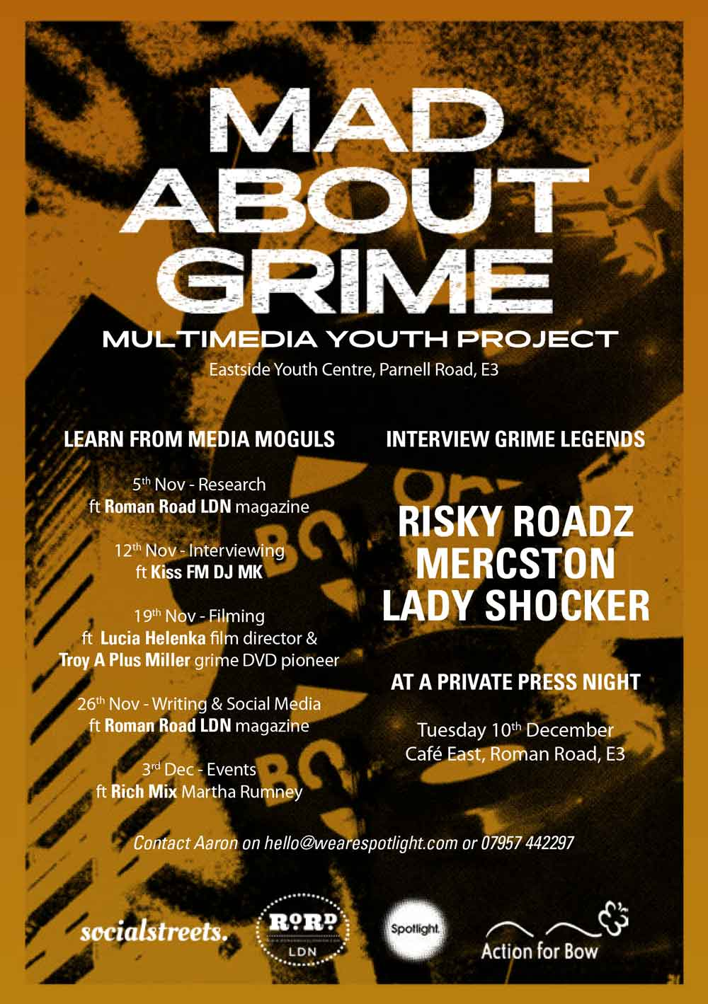 Mad About Grime youth project flyer