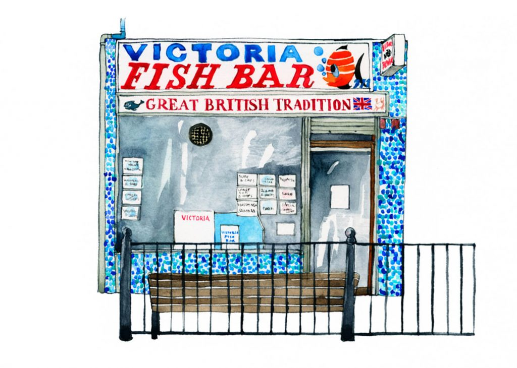 Illustration by Eleanor Crow of Victoria Fish Bar on Roman Road