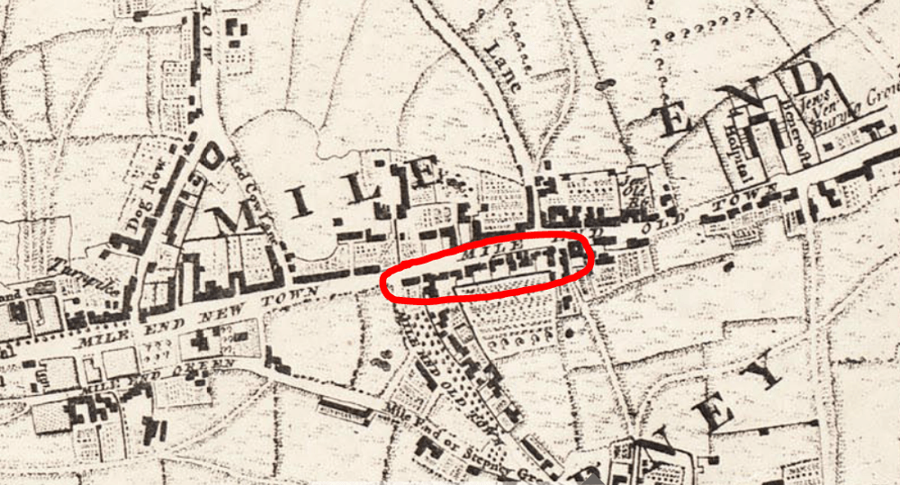 Assembly Row in a 1746 map of London
