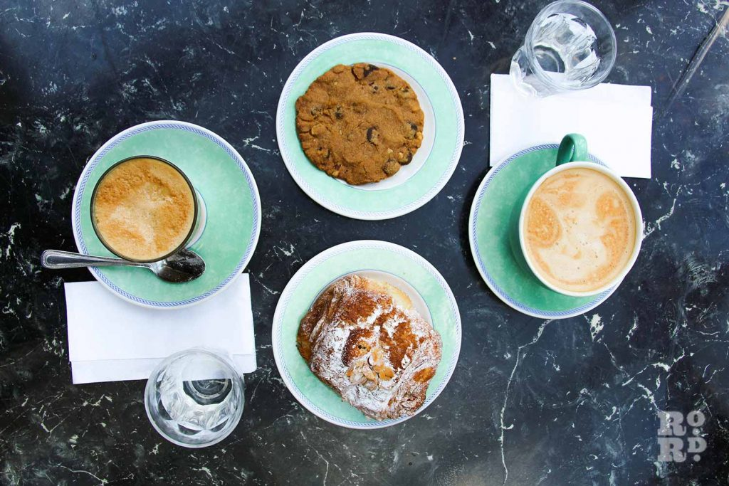 Vegan coffees, cookie and pastry at the Gallery Cafe for review