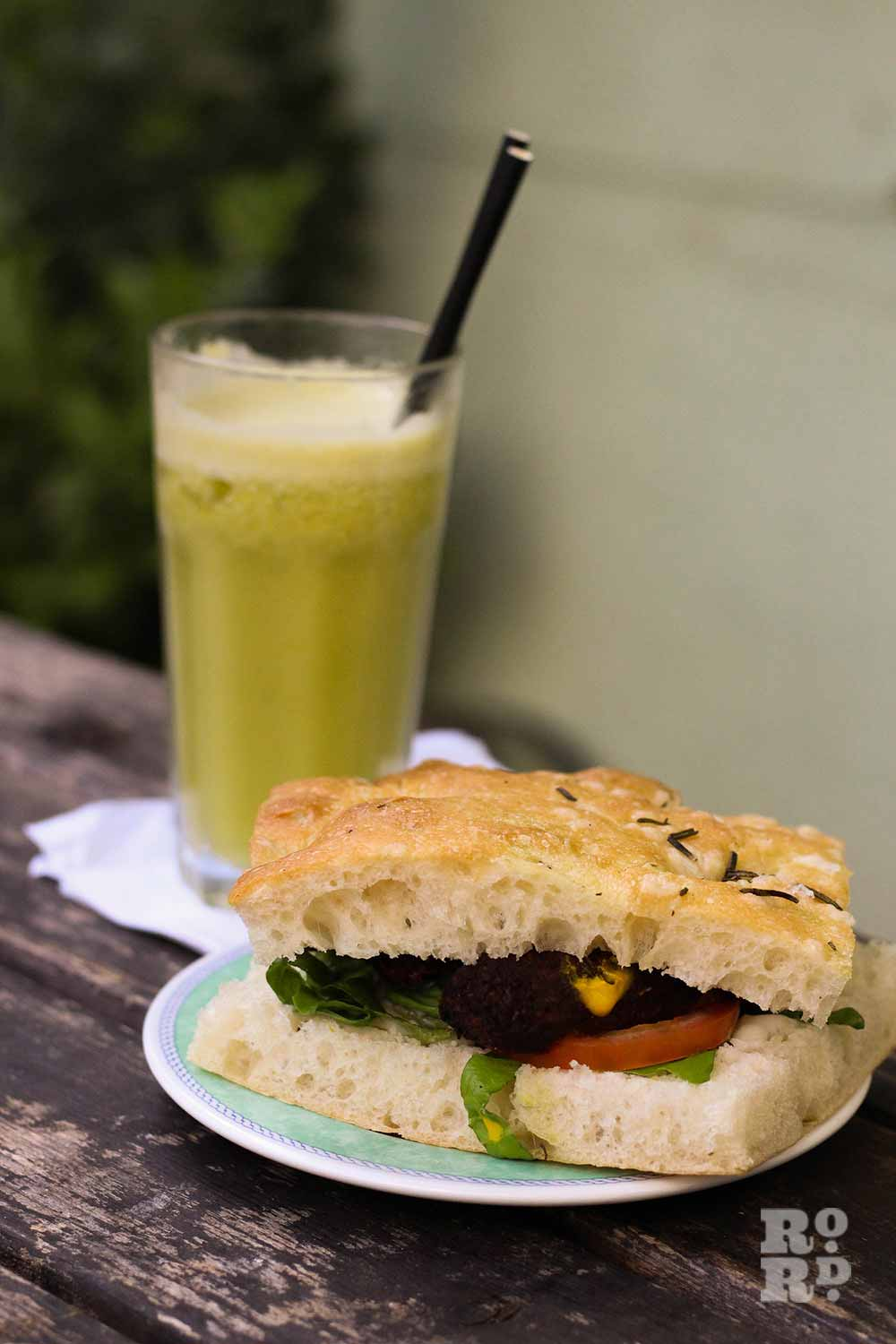 Gallery Cafe vegan focaccia sandwich and smoothie