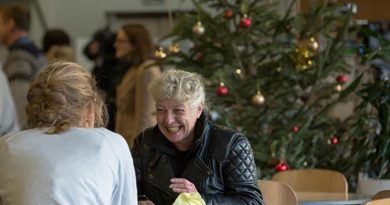 Ann Shelly talking to a Crisis volunteer at Winter Rough Sleepers (WRS). Crisis at Christmas 2015.