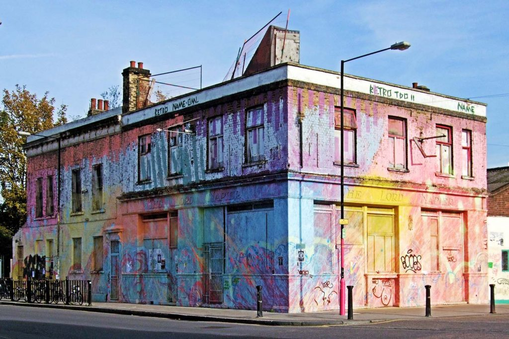 The Lord Napier in November 2013, covered in pastel graffiti