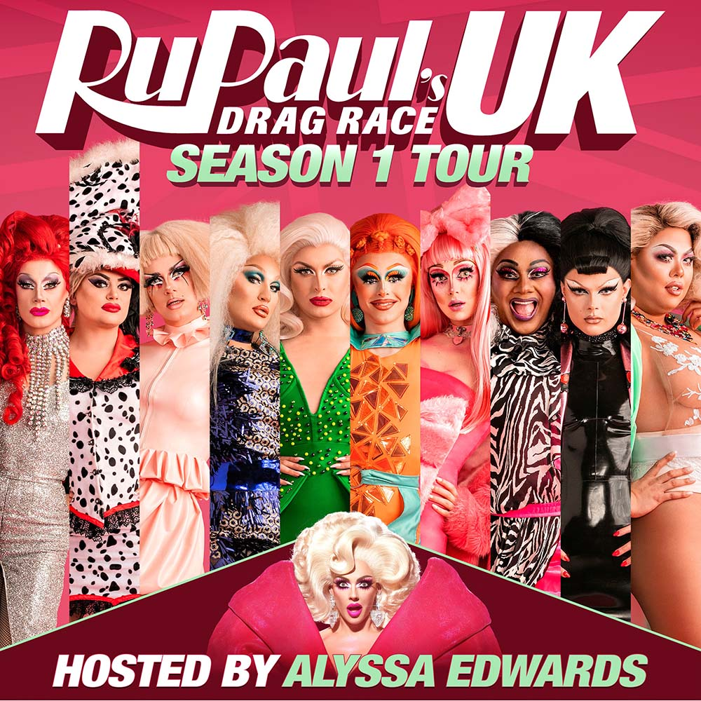 Promotional flyer for RuPaul's Drag Race UK season 1 tour at Troxy