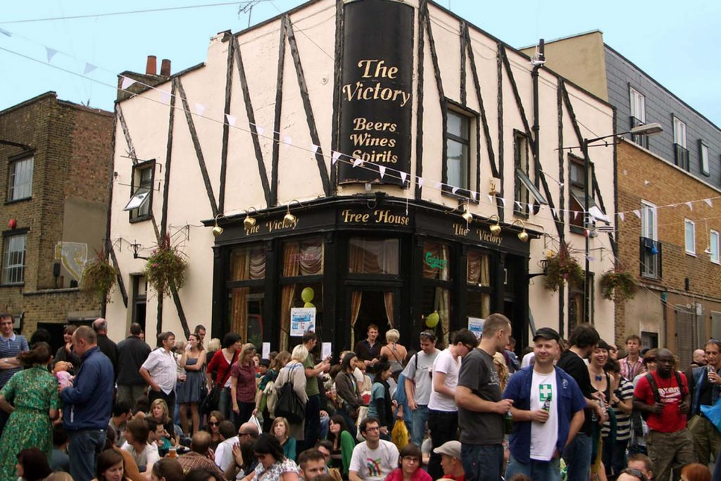 Revellers outside The Victory pub at Vyner Street Festival in 2008