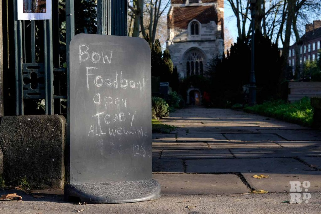 Sign to Bow Food Bank, St Mary's Church, Bow Road, East London