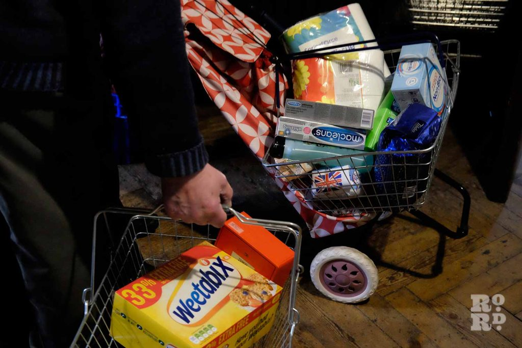 Shopping baskets of food at Bow Food Bank, East London