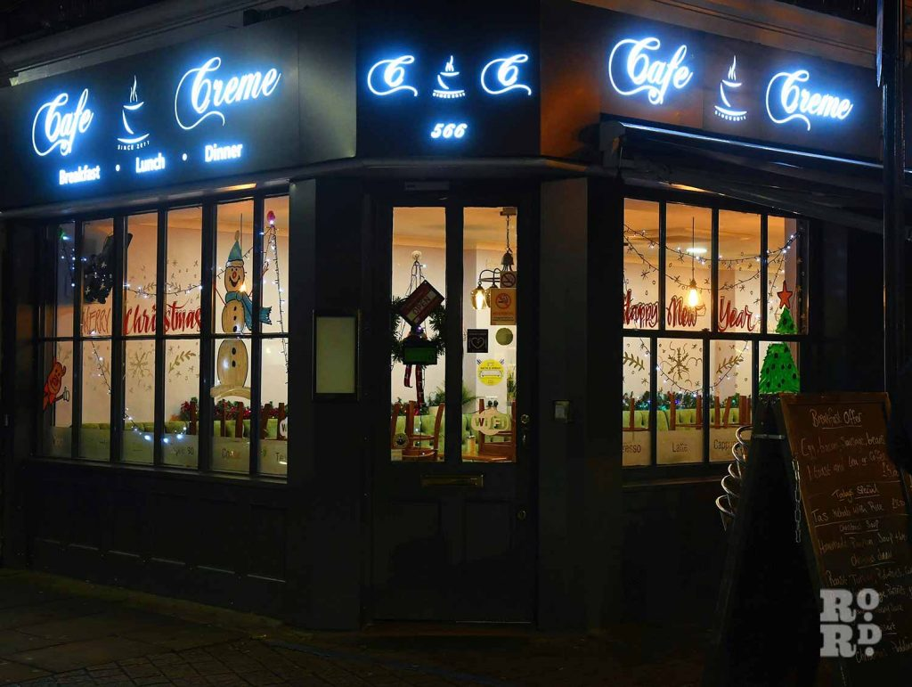 Christmas lights Roman Road Phil Verney Cafe Creme