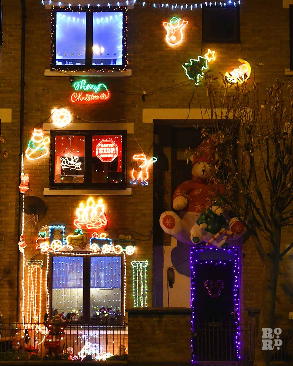 Christmas lights Roman Road Phil Verney Old Ford Road house