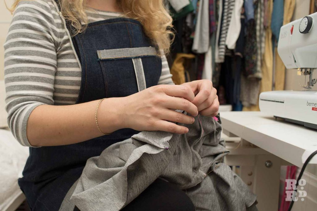 Lottie Lee Gough sustainable fashion designer sewing