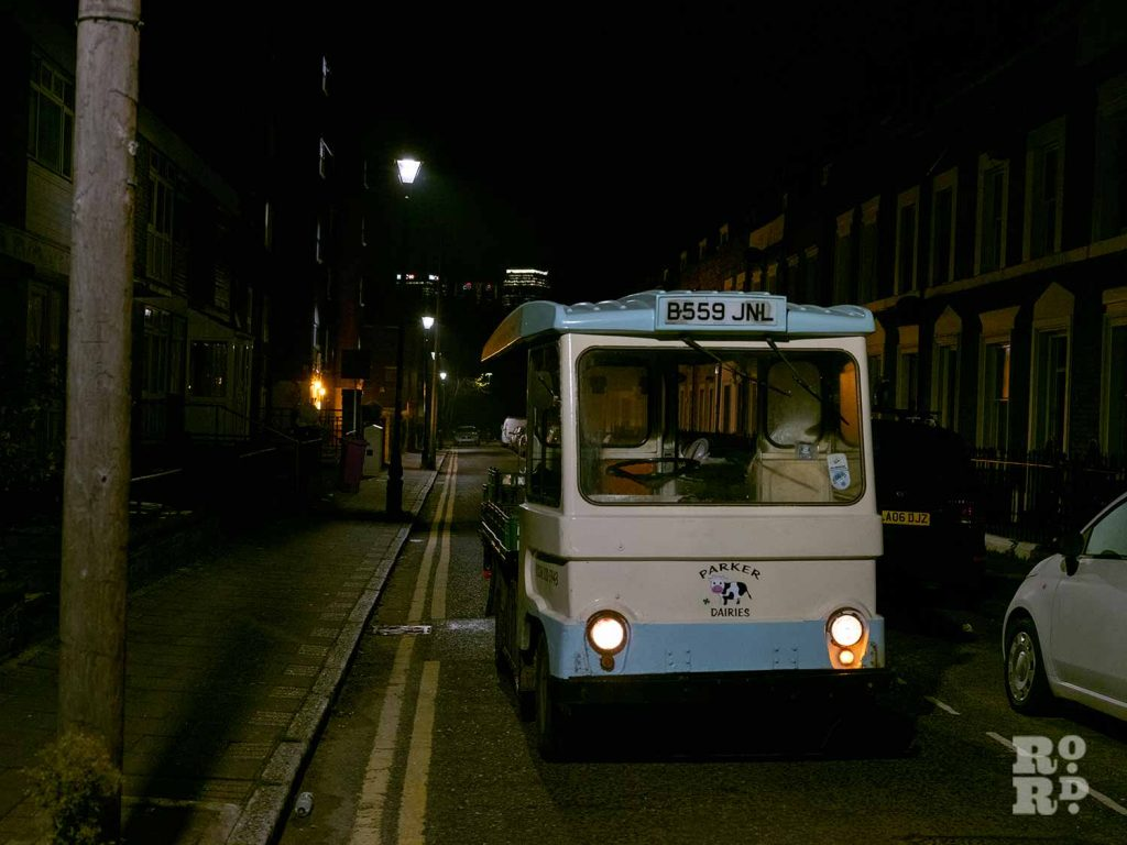 Parker Dairies Milk Float in East London parking by the roadside