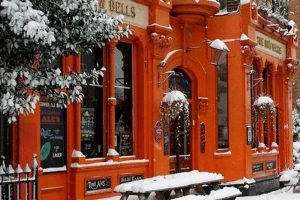 Bow Bells pub in the snow