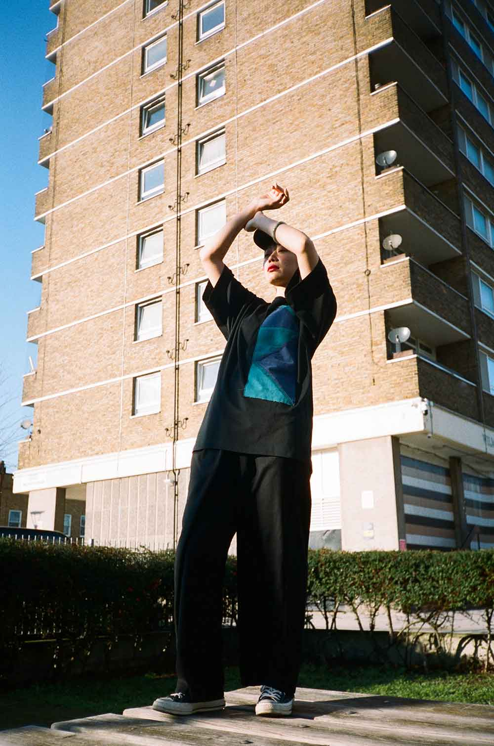 Housing estate tower Atika fashion shoot Roman Road