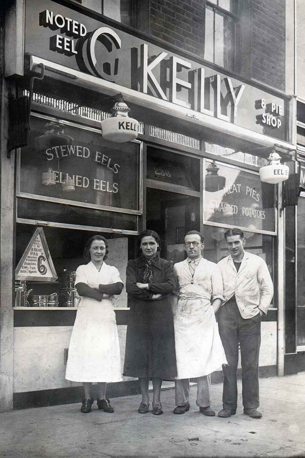 Picture of GKelly pie and mash shop on the day it opened on Roman Road in East London in 1937