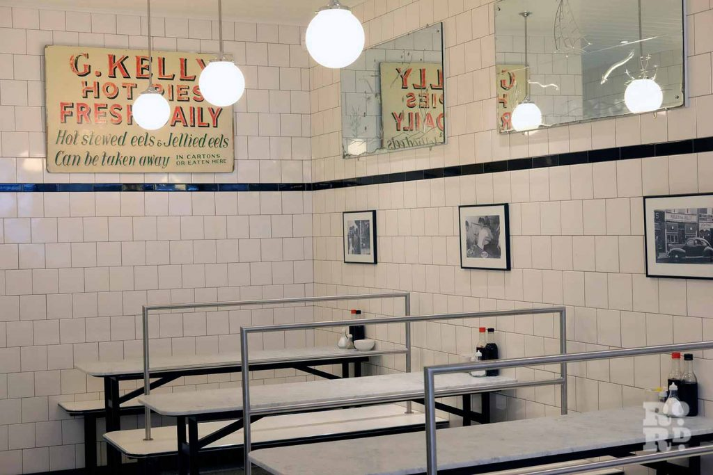 G.Kelly pie and mash Roman Road interior of cafe