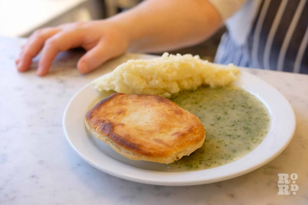G.Kelly pie and mash Roman Road close up of pie and mash