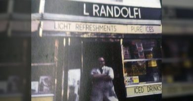 Victor standing outside Randolfi cafe on Roman Road, archive image from 1960s