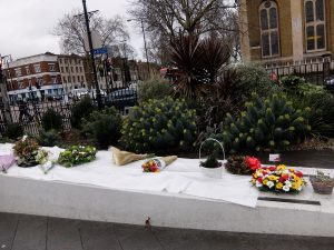 Memorial flowers to mark the 77th anniversary of the Bethnal Green tube disaster