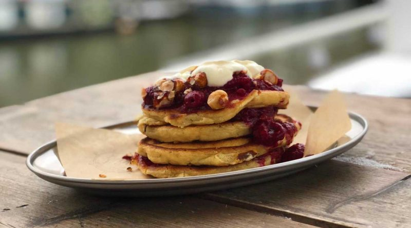 Pile of pancakes from Barge East, Hackney Wick
